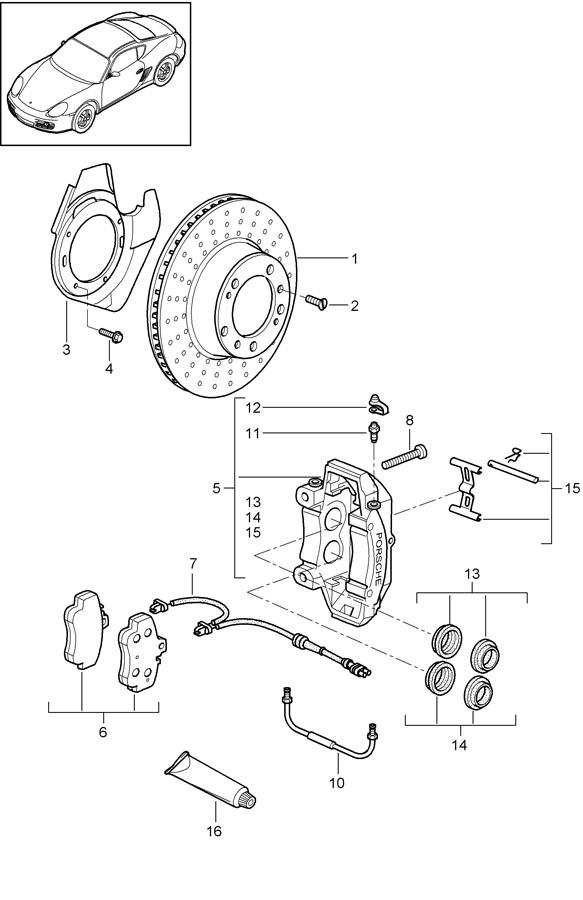 2009 Porsche Grey cast iron damping plate brakes brake