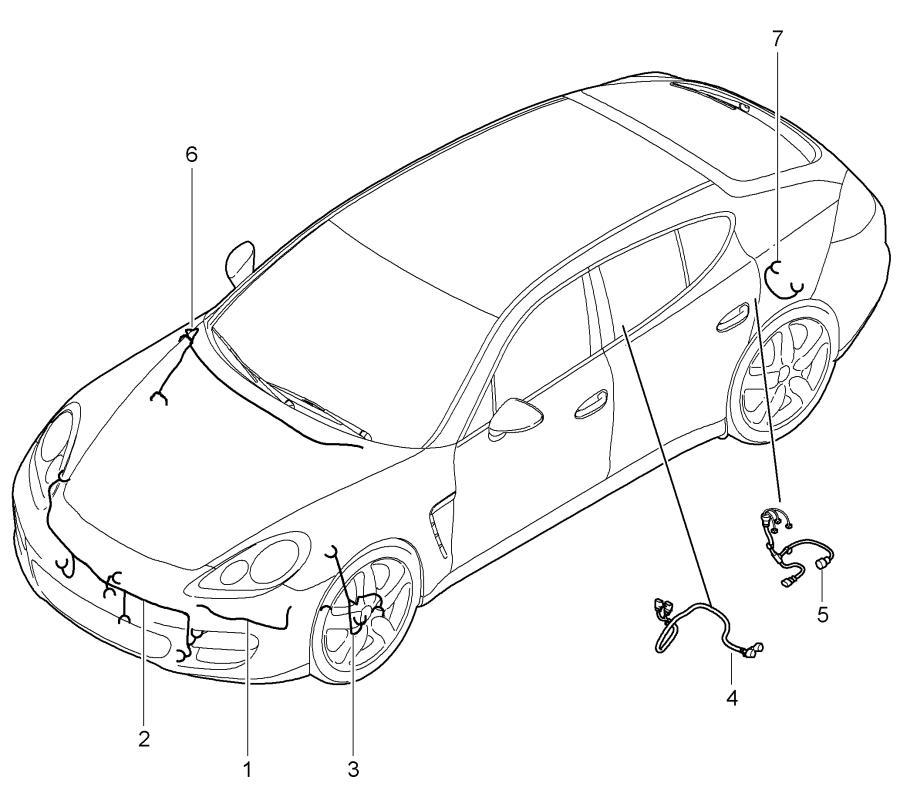 Porsche Panamera Wiring harness right front bumper. Bonnet
