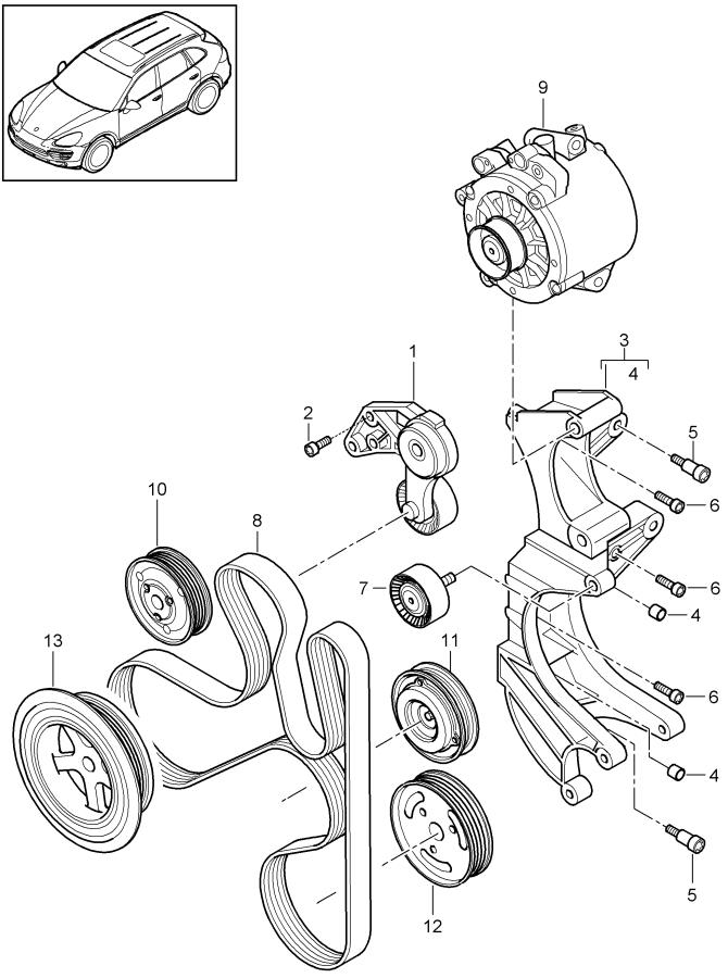 Porsche Cayenne Accessory Drive Belt Tensioner Assembly