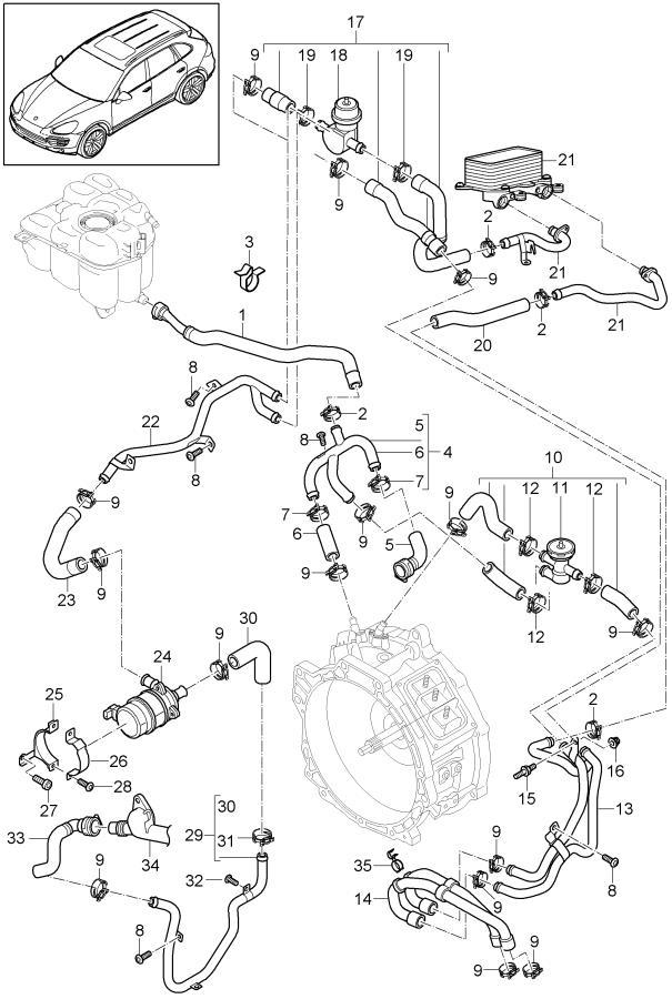 Porsche Cayenne With water hose vacuum valve. Assy