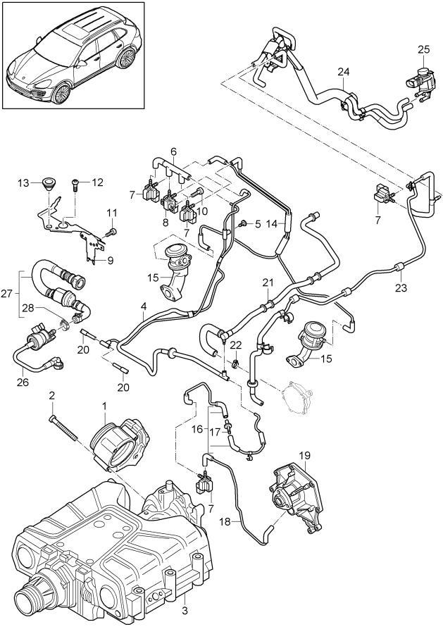 Porsche Cayenne throttle body tank ventilation vacuum line