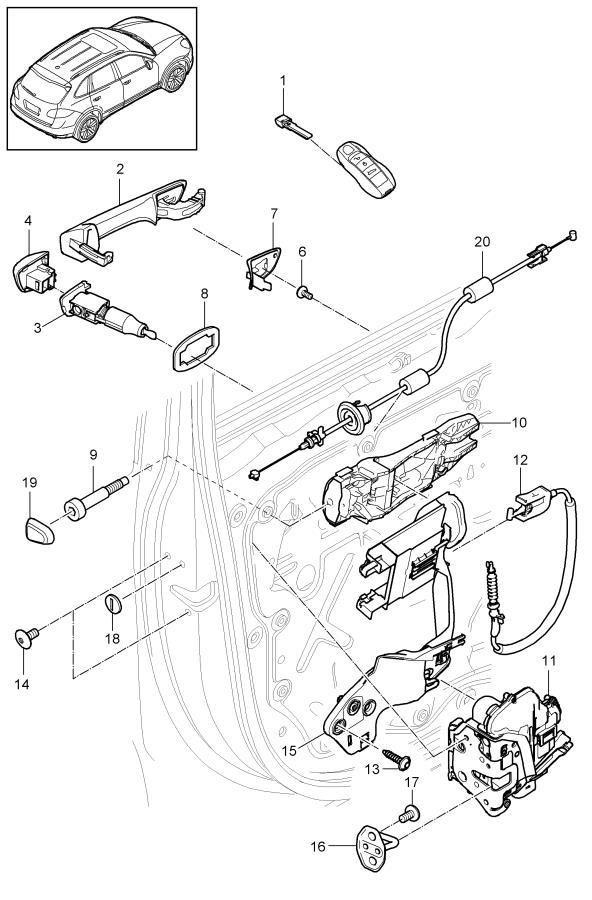 Porsche Cayenne Door Lock Cylinder Cap. 2011-14. 2015-18