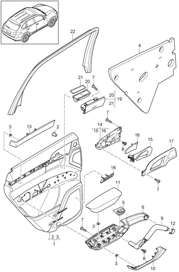 Porsche Cayenne Expander nut door trim panel. DOOR PANEL