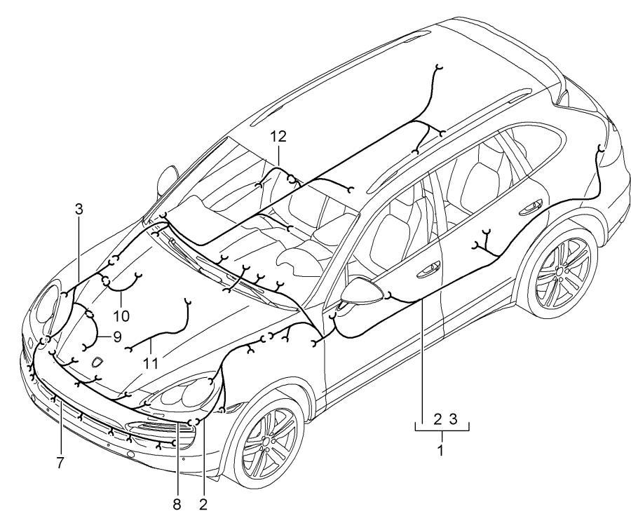 2013 Porsche Cayenne Parking Aid System Wiring Harness