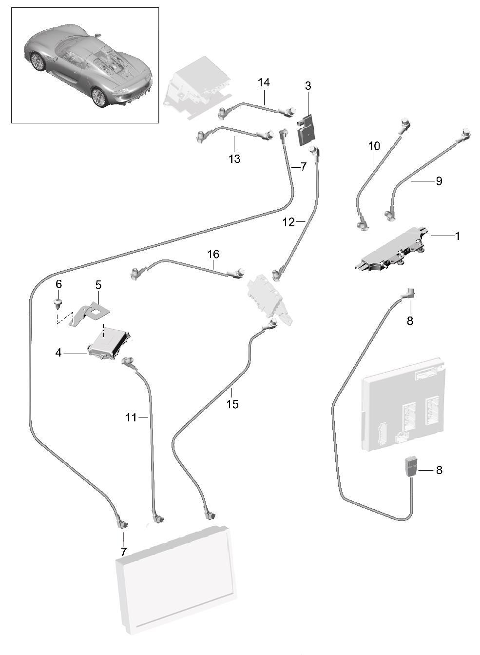 Porsche 918 Spyder Support single pole roof connection