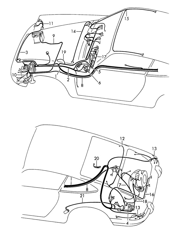 Porsche 912 Wiring harness luggage compartment