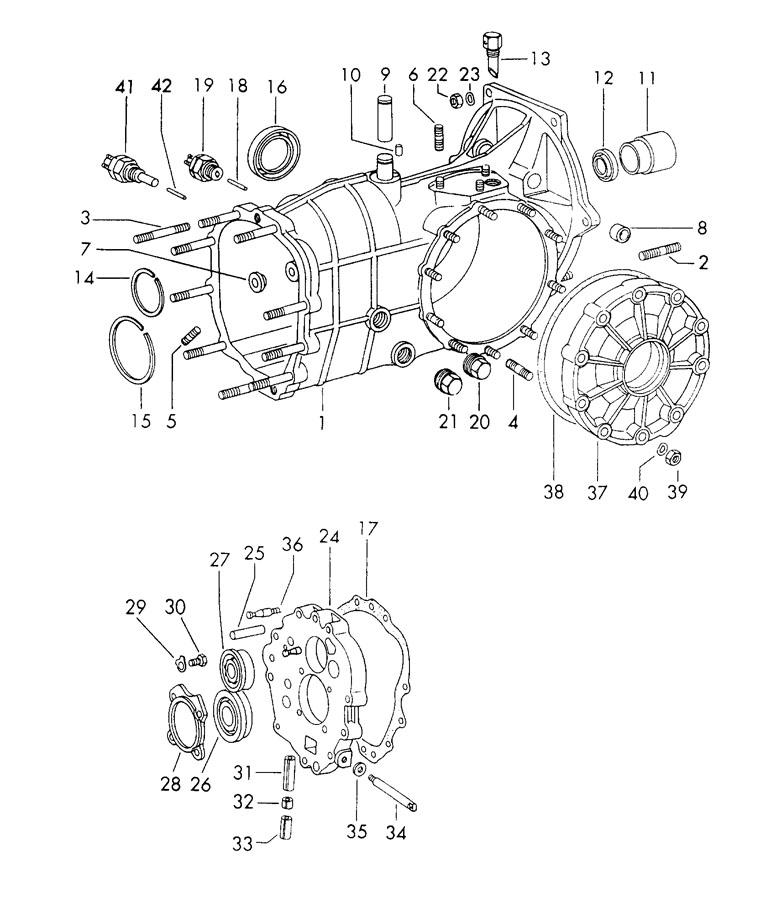 Porsche 911 Transmission case gasket for. Reverse, Linkage