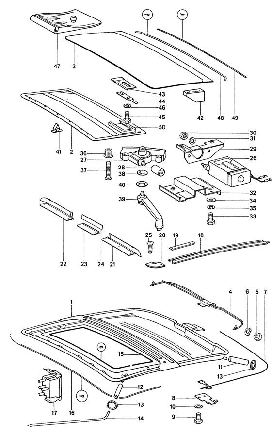 Porsche 911 Cable guide seal. FELT GASKET. COUPE, side