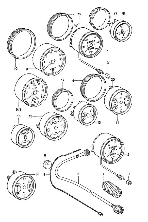 Porsche 911 Dashboard wiring. Stainless steel 91161204701