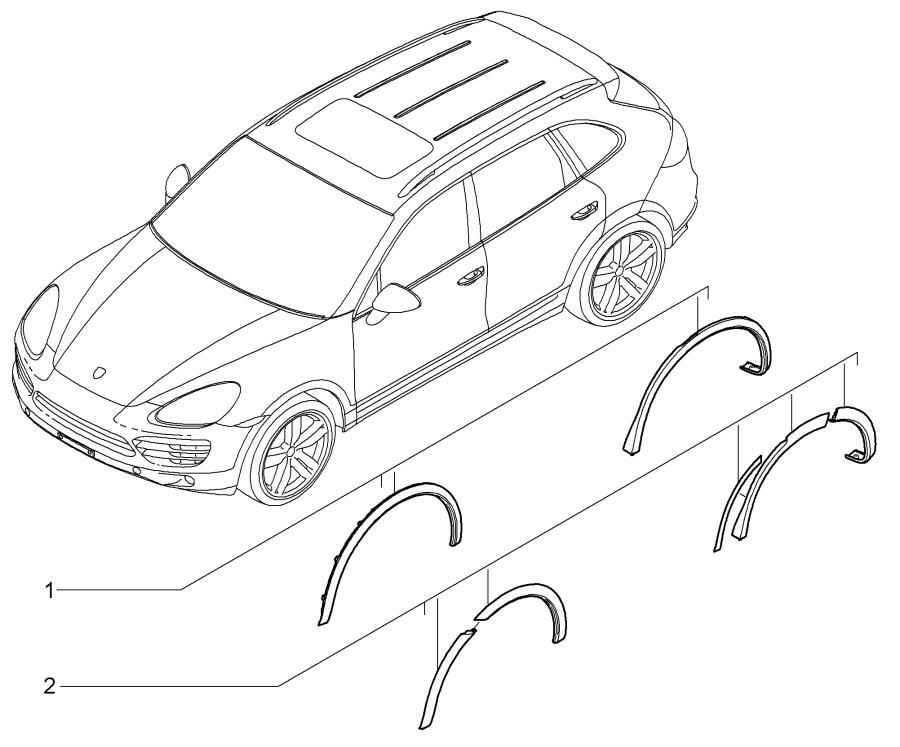 Porsche Cayenne Wheel arch extensions in Black. Flared