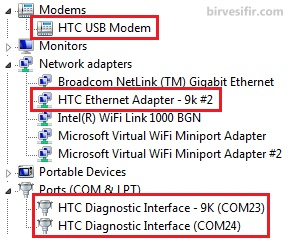 Device Manager after HTC driver installation