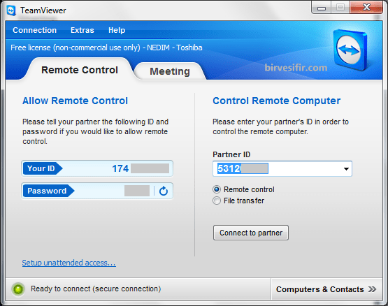 Remote Connection with TeamViewer
