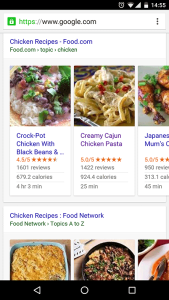 An example to structured data in search results