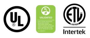 3 certifications logos ETL, UL, UL Validated