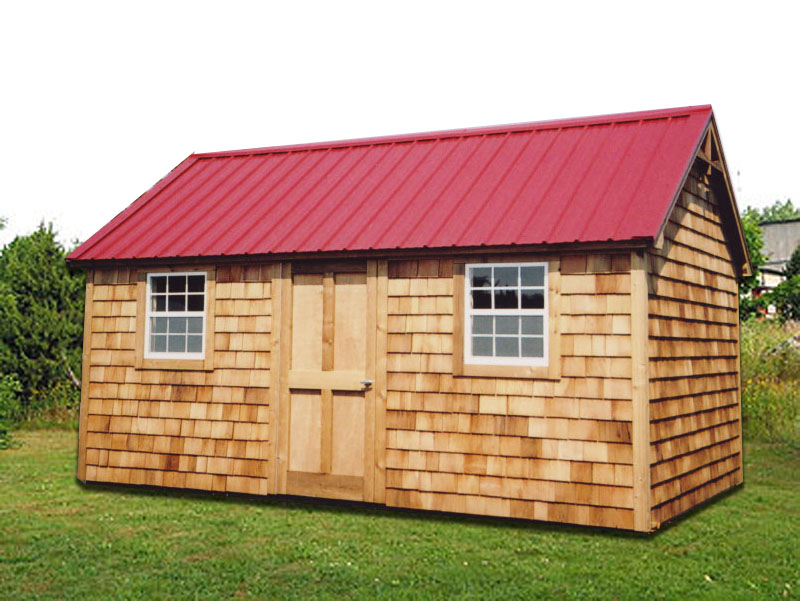 10 X 16 Cape Cod With Red Steel Roof CU 19 Portable