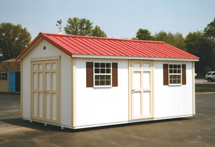 10 X 16 Ranch With Red Metal Roof R 18 Portable