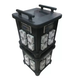 63 amp portable industrial socket box with protection and inner wiring audio live use control system ip66 stackable [ 1120 x 799 Pixel ]