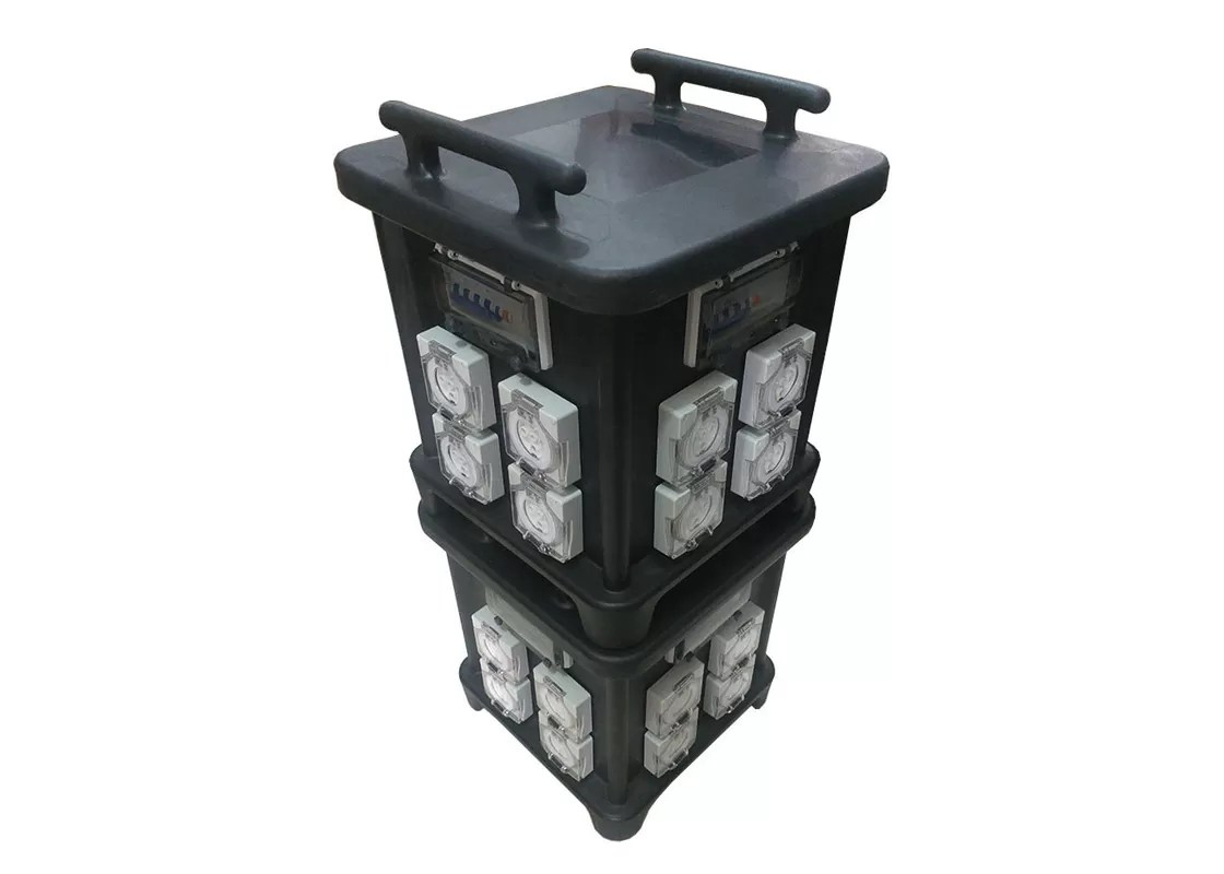 hight resolution of 63 amp portable industrial socket box with protection and inner wiring audio live use control system ip66 stackable