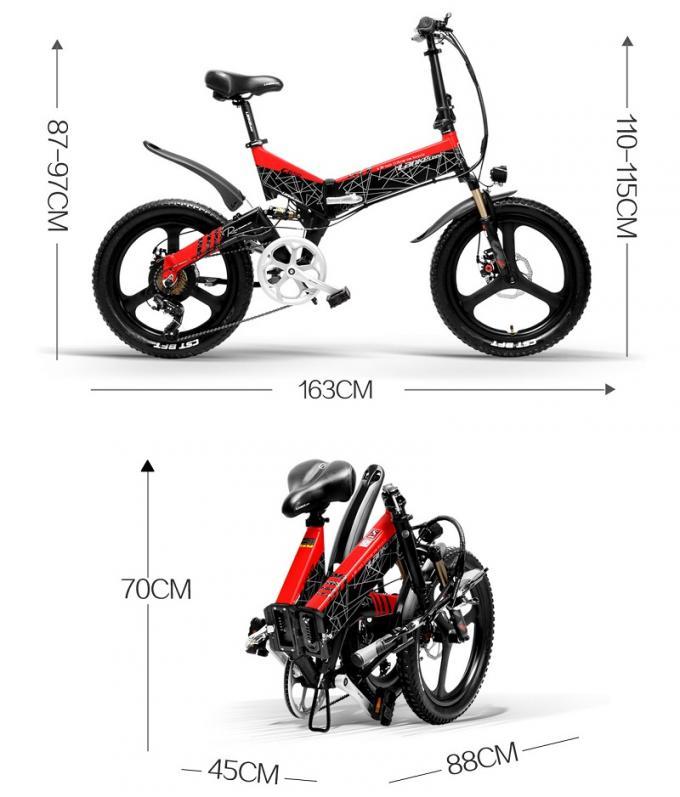 7 Speed Full Suspension Electric Bike , Shlmano 20 Inch