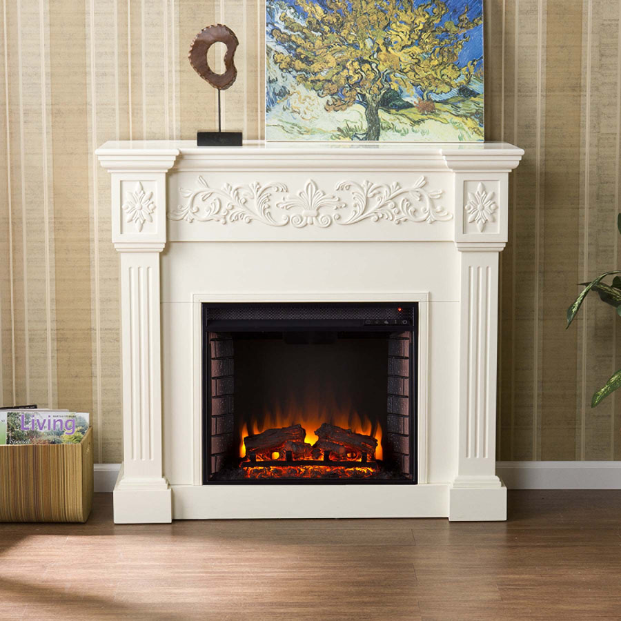 Antique White Electric Fireplace  PortableFireplacecomPortableFireplacecom
