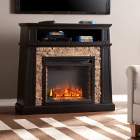 "44.25"" Crestwick Faux Stone Electric Media Fireplace ..."