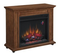 "33"" Infrared Premium Oak Rolling Mantel Electric Fireplace ..."