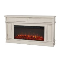 "60"" Torrey Bone White Electric Fireplace :: Real Flame ..."