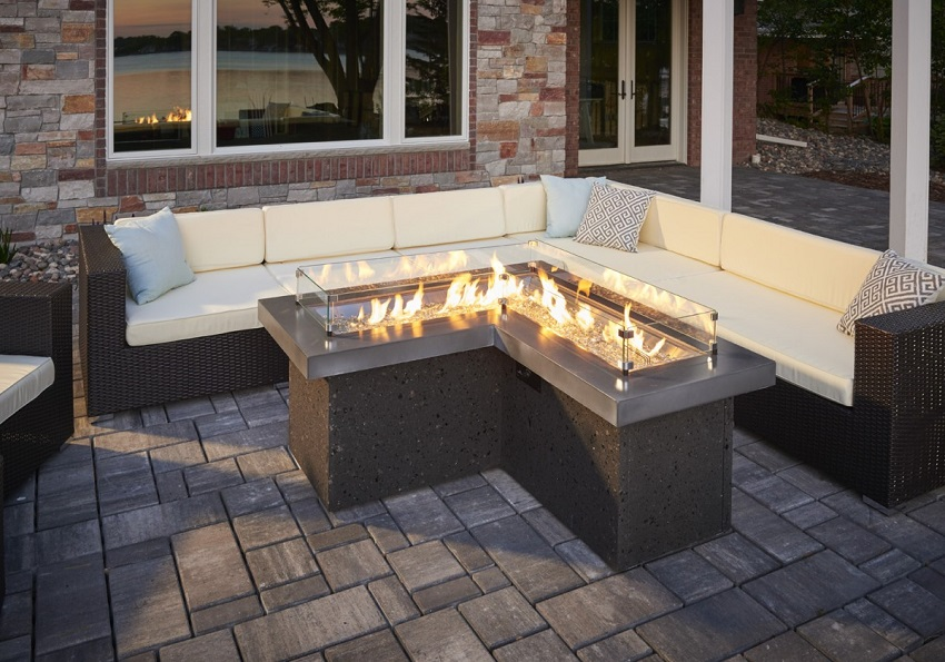 LShaped Pointe Fire Pit Table