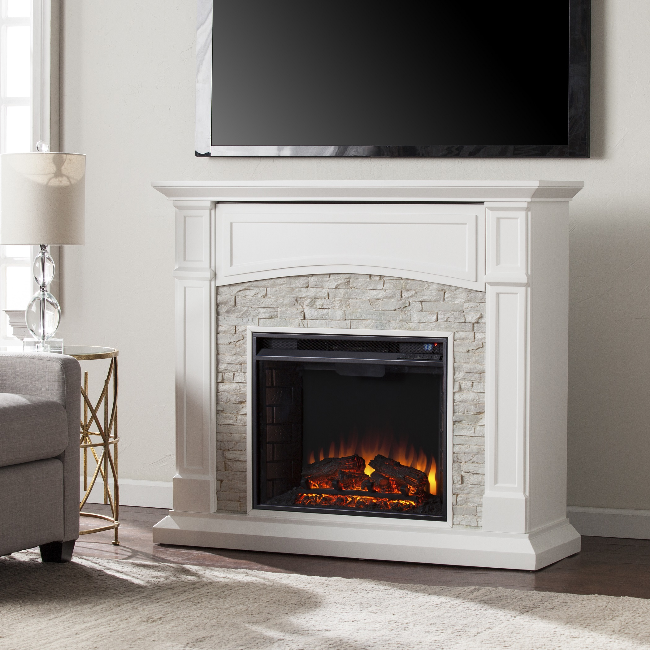 4575 Seneca Electric Media Fireplace  White w White Faux Stone  FE9362  FI9362