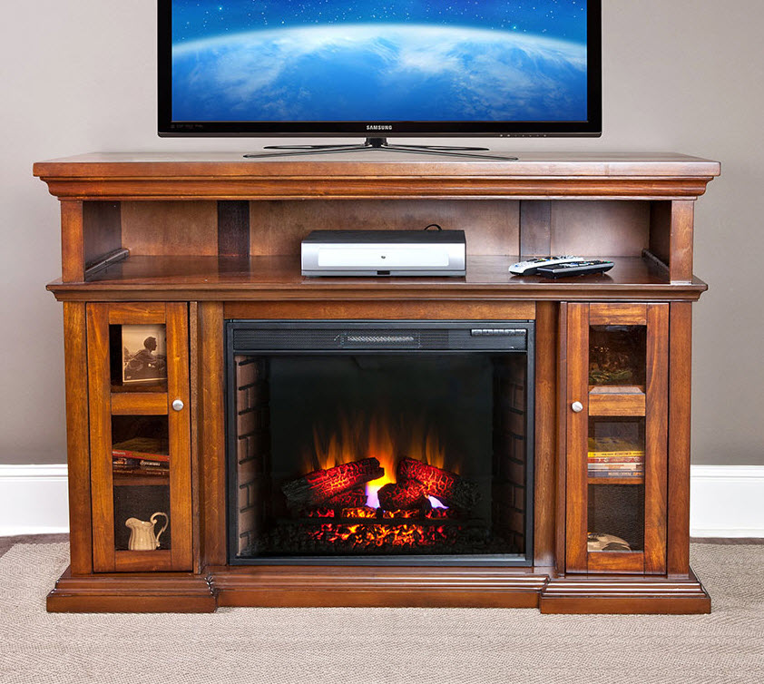 60 Pasadena Burnished Walnut Electric Fireplace Entertainment Center  28MM468W502