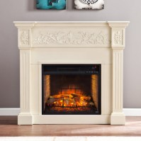 "44.5"" Calvert Carved Infrared Electric Fireplace - Ivory ..."