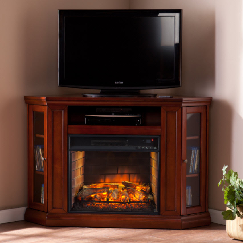 48 Claremont Corner Media Infrared Fireplace  Brown Mahogany  FI9316