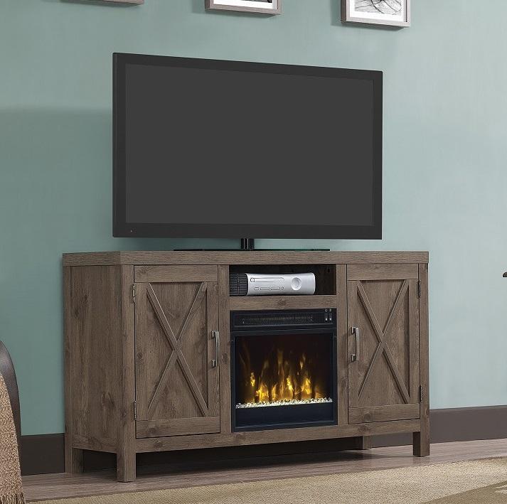 525 Huntington Spanish Gray TV Entertainment Media Stand w Electric Fireplace