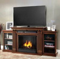 "67"" Ashley Dark Espresso Entertainment Center Gel Fireplace"