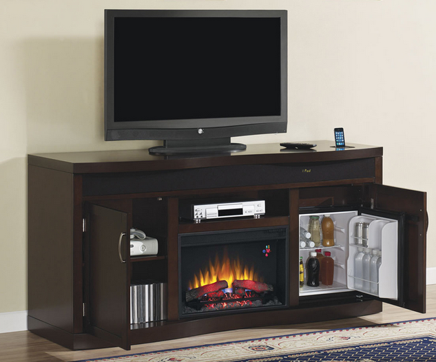 73 Endzone Espresso Electric Fireplace Entertainment