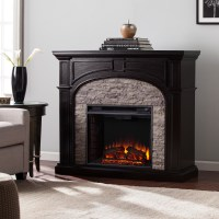 "45.75"" Tanaya Electric Fireplace - Ebony w/ Gray Stacked ..."