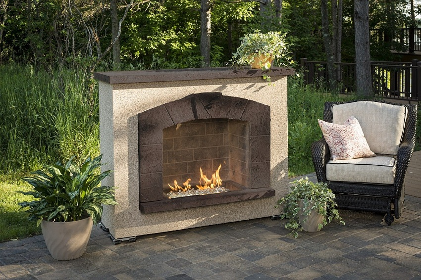 Stone Arch Gas Surround Outdoor Fireplace