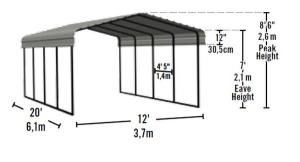 12'W x 20'L x 7'H Metal Arrow Carport