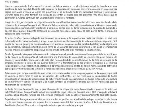 Carta de Hernán Rincón