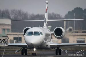 Le Falcon 5X au roulage à Bordeaux