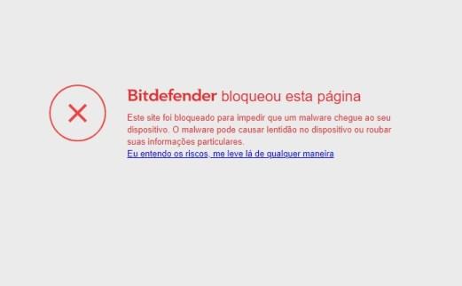 Bloqueio do site falso com cartão de créditos para negativados NuBank pelo anti-vírus