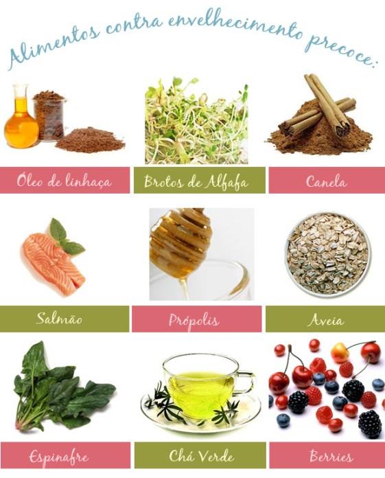 Os vegetais verdes folhosos estão entre os mais ricos em anti-oxidantes. As principais vitaminas anti-oxidantes são A, C e E. Algumas combatem os radicais livres, como o licopeno, encontrado no tomate, e os polifenóis, presentes na uva, azeite de oliva e frutas oleaginosas.