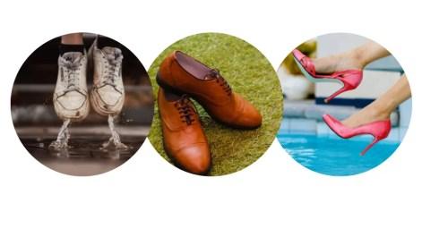 Tênis velho e furado sugerindo descaso. Sapato social no gramado e salto alto na piscina sugerindo inadequação.