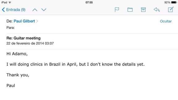 E-mail enviado por Paul Gilbert confirmando sua vinda ao País