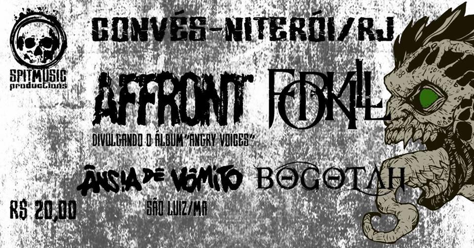 Affront, Forkill e Bogotah: Noite de Metal na Cidade Sorriso.