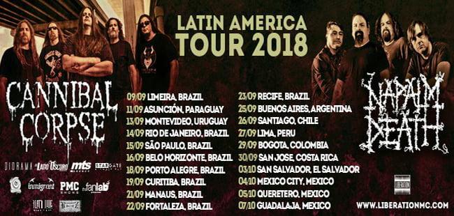 Cannibal Corpse e Napalm Death em extensa turnê pela América Latina