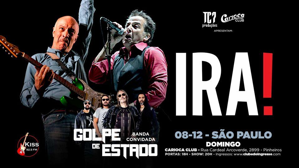 IRA! faz show repleto de clássicos no Carioca Club, neste domingo