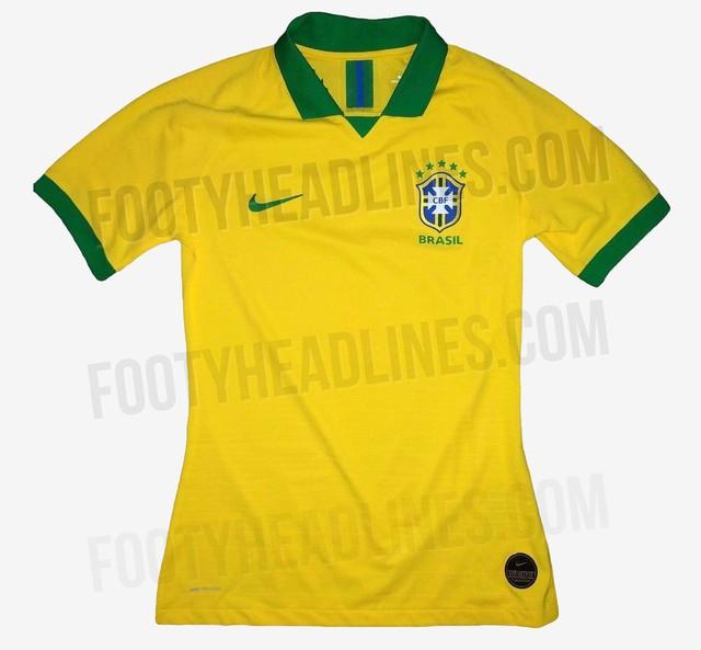 Brasil utilizaria nova camisa na Copa América — Foto   Reprodução Footyheadlines 81fedb85563c1