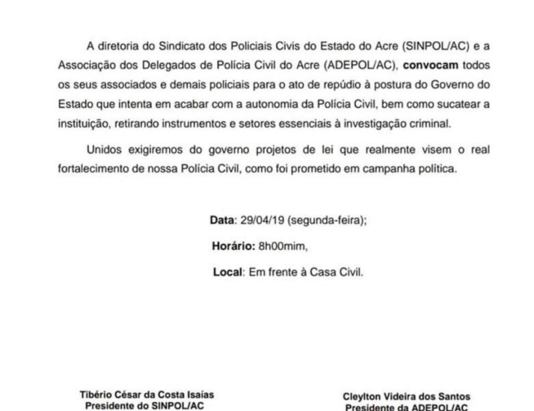 """Sindicatos da Polícia Civil vão à """"guerra""""; não aceitarão calados o fim da autonomia"""