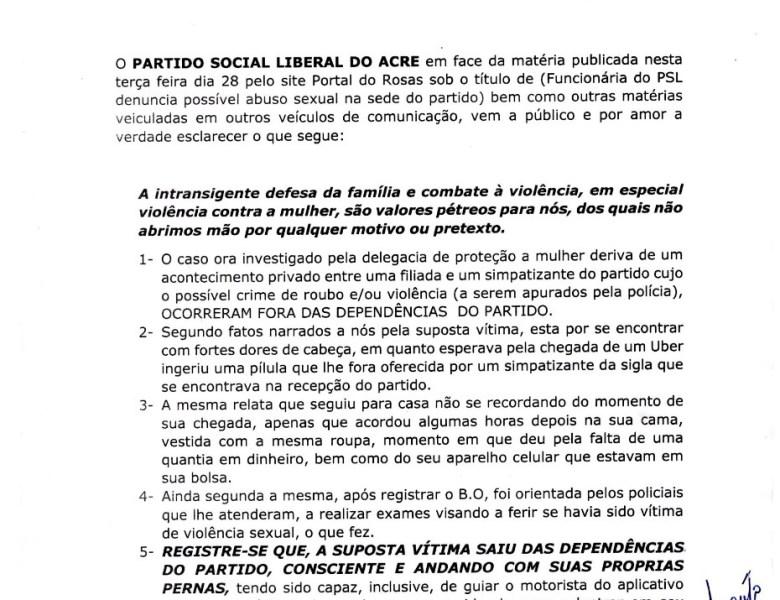 Direção do PSL emite nota negando que funcionária foi abusada na sede do partido e defende investigação